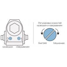 Способ работы дверного доводчика – регулировка усилия и скорости.