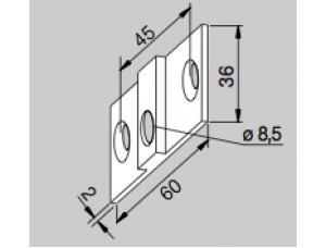 Крепежная пластина для углового фитинга PT 30 DORMA (dormakaba)