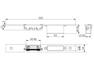Отв. планка с регулировкой и карманом для центрального замка 820, 821, 830, 831 и 840 DORMA (dormakaba)