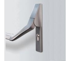 PHA 2501 VB Рычаги для сплошной одно- и двупольной двери, на активную и пассивную створку двери, серебристый
