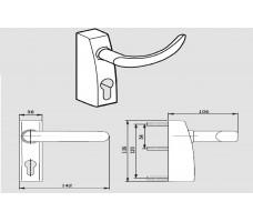 3901 PHT 01 Внешний фитинг с нажимной ручкой, для стандартных дверей