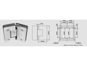 8030146 Душевая петля S1000-166 с/с 135гр(RS212X) полированная DORMA (dormakaba)